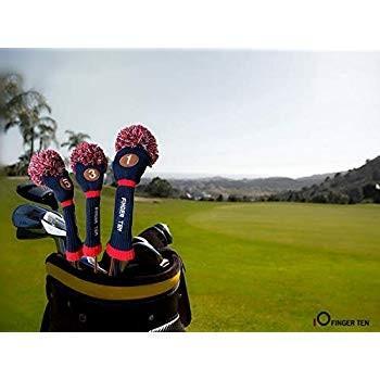 FINGER TENポンポンゴルフヘッドカバードライバーフェアウェイハイブリッドウッド、ヴィンテージニットブラックブルーPnk 1 3 5男