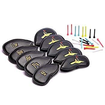 SteadyDoggieゴルフクラブヘッドカバー10本のPUレザーゴルフアイアンクラブカバーのセット。左右両手の女性用および紳士用クラブに適
