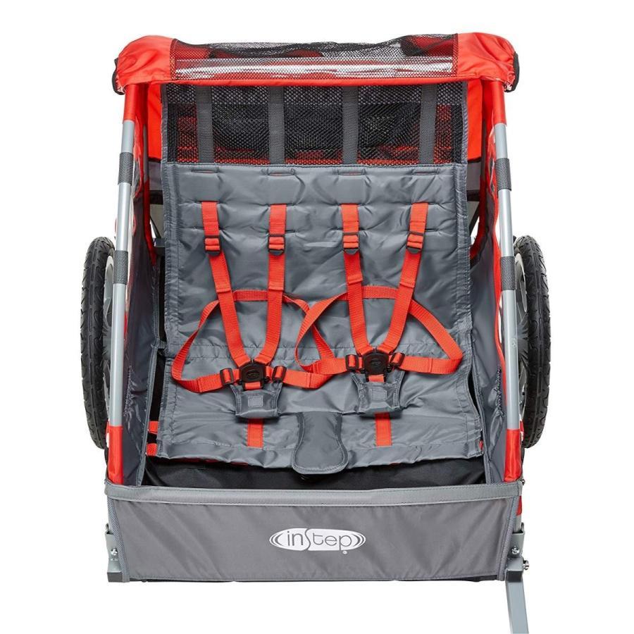 InStepバイクトレイラーの後ろに2つのダブルシート折りたたみ式けん引車を設置、2-in-1キャノピーと16インチホイール、子供と子供用、