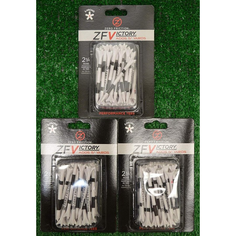 3 Zero Friction ZFVictory 5 Prong 白い Golf Tee Packs 2 3/4