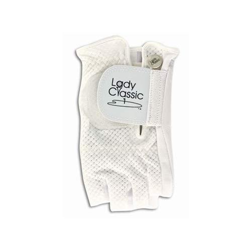 Lady Classic Cabretta 1/2 Finger Golf Glove 白い Small RH