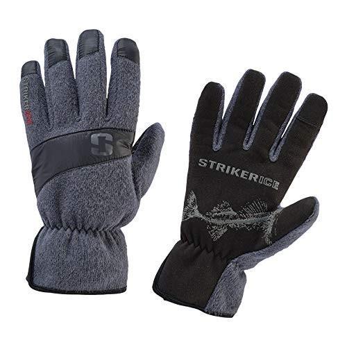 Striker Ice Mens Fleece Driving Gloves, Gray/Black, Small