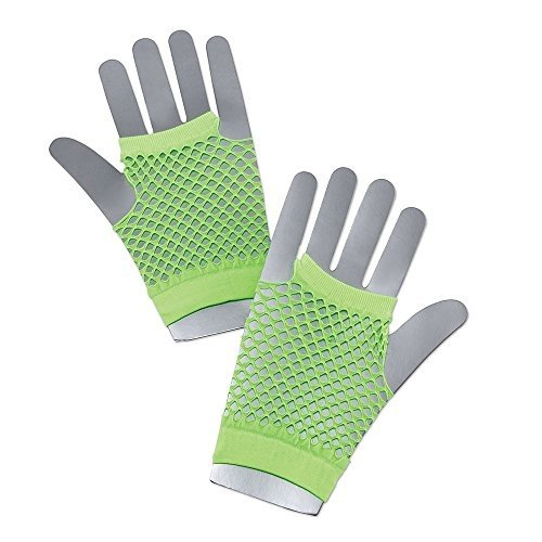 Bristol Novelty BA572 Fishnet Gloves Short Neon Green, One Size