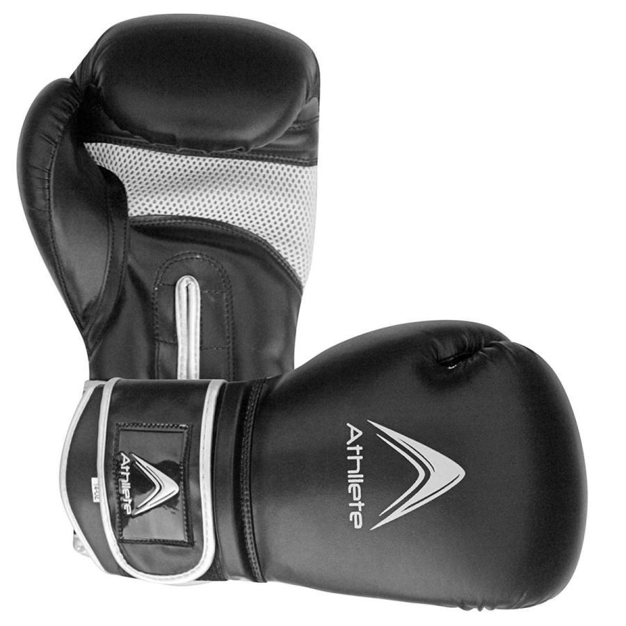 Athllete Training Boxing Gloves (Black/Silver, 16 oz)