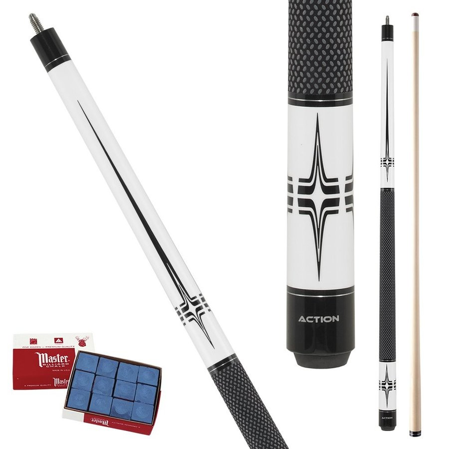 Action 黒 & 白い BW20 Heartbeat with 黒 Tec-Relon wrap Pool Cue