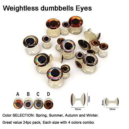 最前線の Aventik 24pcs Pack Super Realistic 3-D Weightless Dumbbells Eyes Super, BLUXE 8c9ce40a