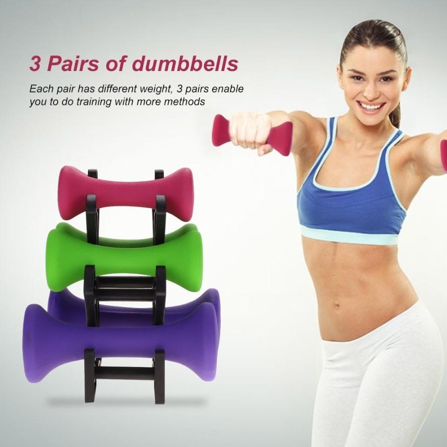Fitness Dumbbells,6pcs Gym Exercise Fitness Dumbbells Dumbbells Dumbbells Set 2lb 3lb 5lb 10f