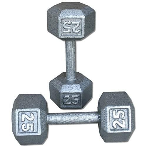 大割引 Pair 25 Lb. Cast Iron Hex Dumbbells, ヤマジツ本舗 72cc7f29