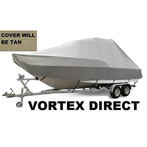 VORTEX HEAVY DUTY TAN / BEIGE T-TOP CENTER CONSOLE BOAT COVER FOR 23'