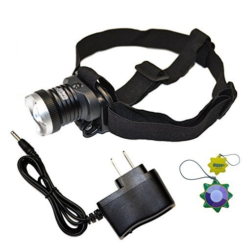 HQRP Powerful Rechargeable UV LED Headlamp Flashlight 390-395nm for Sc