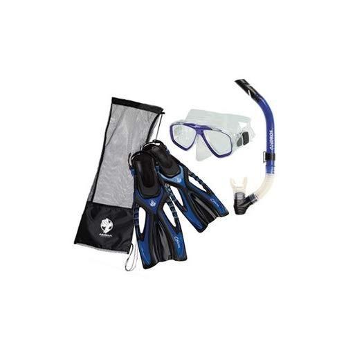 最新作 Akona Adult Snorkeling Set Mask Snorkel Fin Package, Blue, SM/MD, ナチュラルウェルネス 6e148c60