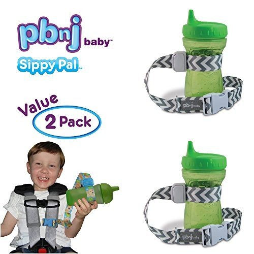PBnJ Baby SippyPal Sippy Cup Holder Holder Strap Leash Tether (Gray Chevron 2