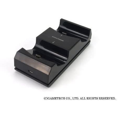 ゲームテック GAMETECH PS4 DUALSHOCK 4 専用 コントローラ充電スタンド コントローラ充電スタンド4 ブラック P4A1623|3enakans|04