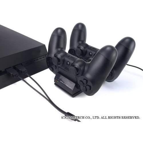 ゲームテック GAMETECH PS4 DUALSHOCK 4 専用 コントローラ充電スタンド コントローラ充電スタンド4 ブラック P4A1623|3enakans|05