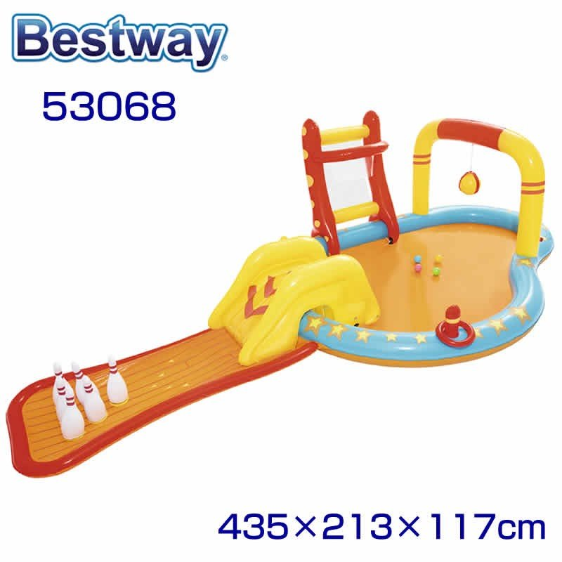 BESTWAY pool 53068 ベストウェイ プール 滑り台付き 子供用プール 家庭用プール プール 幅435cm 奥行213cm 高さ117cm