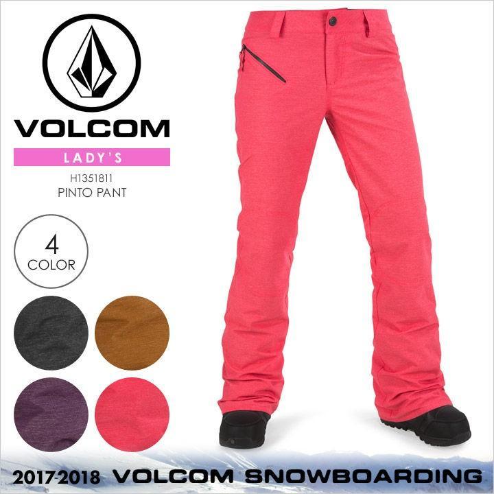 【 黒Friday セール 】 17-18 VOLCOM スノーウェア レディース PINTO PANT 2017-2018 秋冬 H1351811 ブラック/ブラウン/パープル/ピンク
