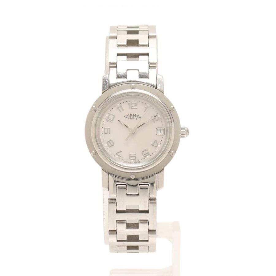最高級のスーパー HERMES エルメス クリッパー レディース 腕時計 CL.4210 クオーツ SS シルバー シェル文字盤【本物保証】, イズシグン 2822433a