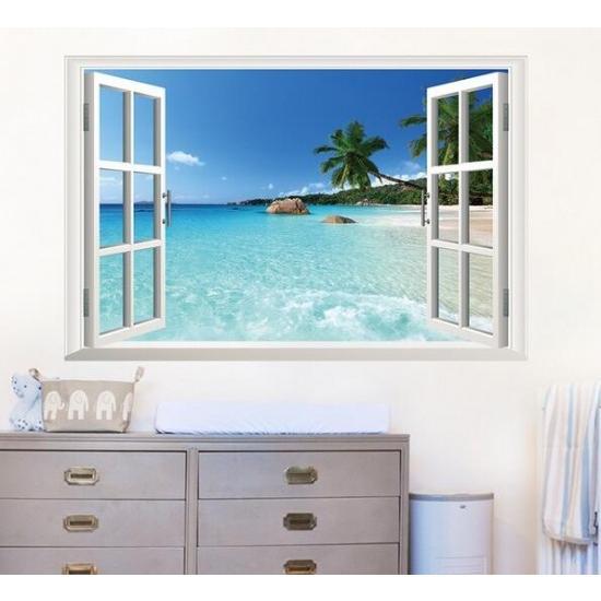 ウォールステッカー 窓 ヤシの木とビーチの風景 壁シール 南国 さわやかな 砂浜 剥がせる 海岸|41wallsticker