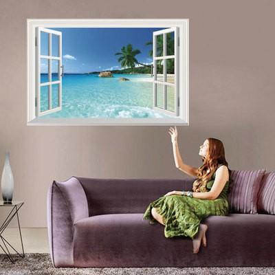 ウォールステッカー 窓 ヤシの木とビーチの風景 壁シール 南国 さわやかな 砂浜 剥がせる 海岸|41wallsticker|02