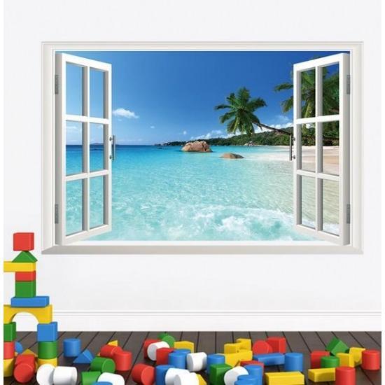 ウォールステッカー 窓 ヤシの木とビーチの風景 壁シール 南国 さわやかな 砂浜 剥がせる 海岸|41wallsticker|03
