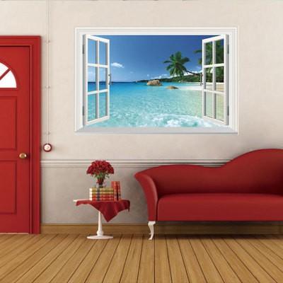 ウォールステッカー 窓 ヤシの木とビーチの風景 壁シール 南国 さわやかな 砂浜 剥がせる 海岸|41wallsticker|04