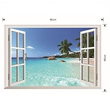 ウォールステッカー 窓 ヤシの木とビーチの風景 壁シール 南国 さわやかな 砂浜 剥がせる 海岸|41wallsticker|05