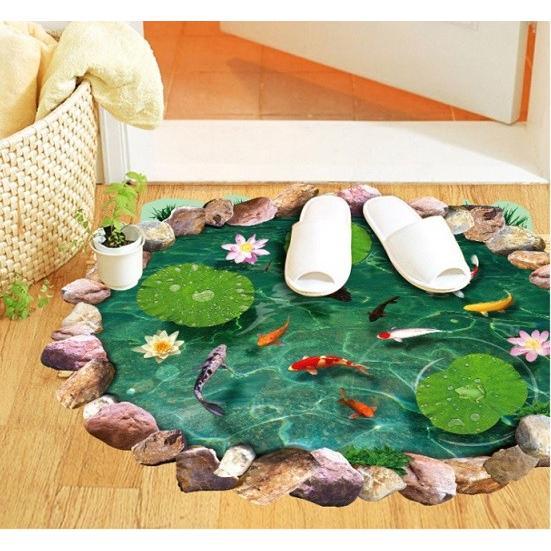 ウォールステッカー 池の鯉 蓮の花 3D壁シール 剥がせる トリックアート 床に 金魚 だまし絵|41wallsticker