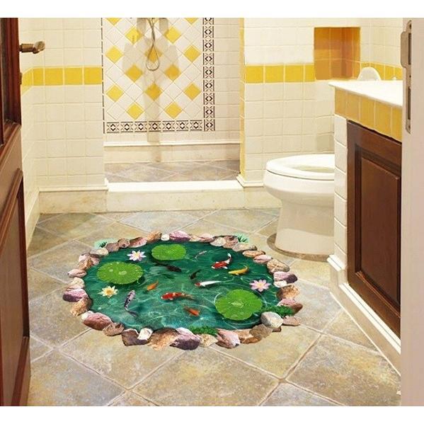 ウォールステッカー 池の鯉 蓮の花 3D壁シール 剥がせる トリックアート 床に 金魚 だまし絵|41wallsticker|02