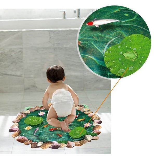 ウォールステッカー 池の鯉 蓮の花 3D壁シール 剥がせる トリックアート 床に 金魚 だまし絵|41wallsticker|03