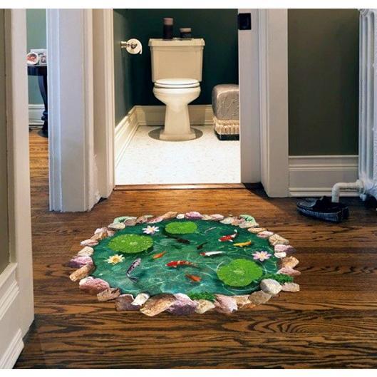 ウォールステッカー 池の鯉 蓮の花 3D壁シール 剥がせる トリックアート 床に 金魚 だまし絵|41wallsticker|04