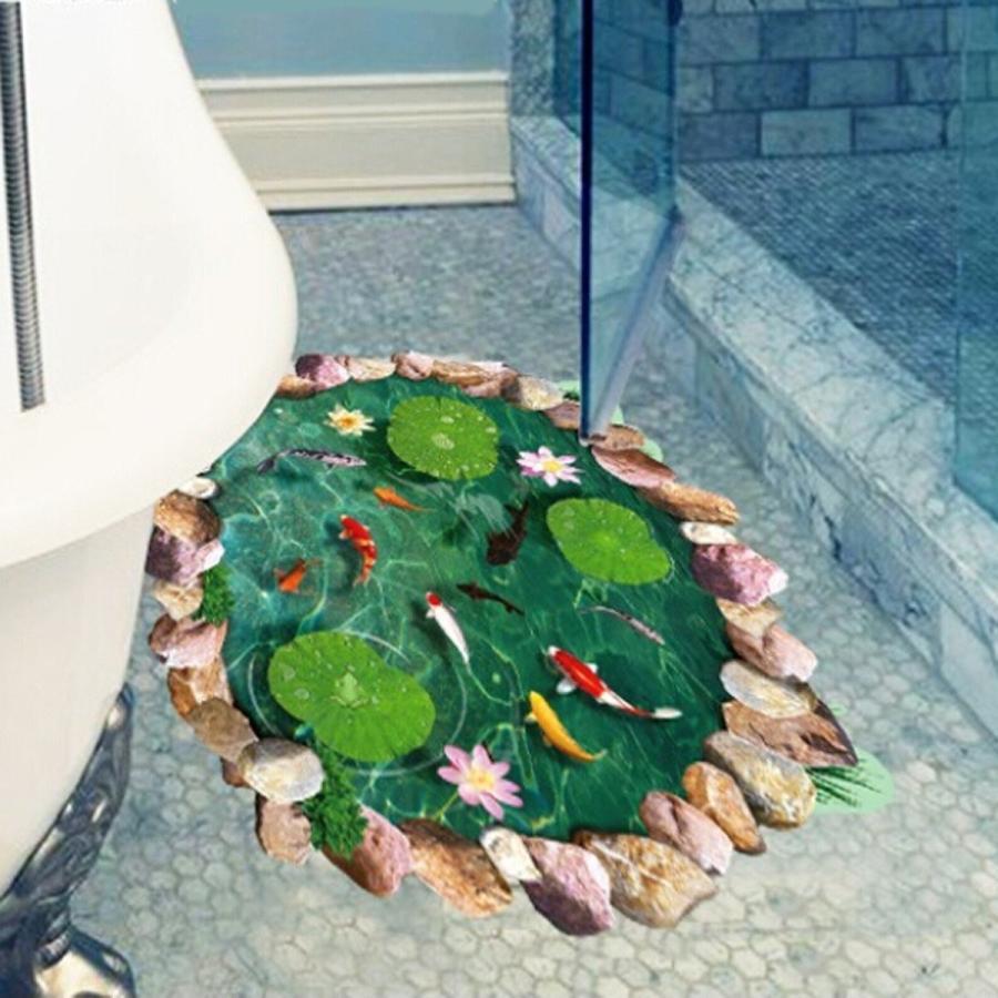 ウォールステッカー 池の鯉 蓮の花 3D壁シール 剥がせる トリックアート 床に 金魚 だまし絵|41wallsticker|05