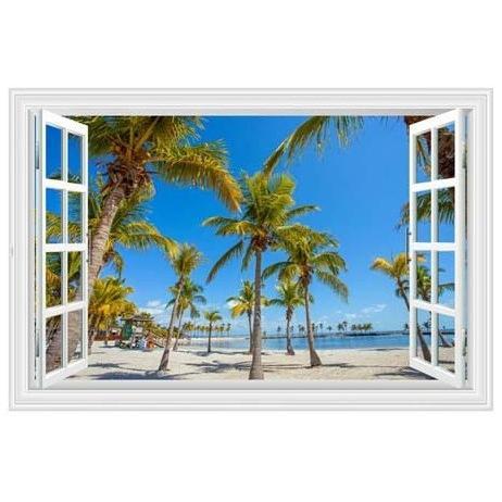 ウォールステッカー 窓 ヤシの木とビーチの風景 青空 壁シール 開放的 まるでリゾート地|41wallsticker