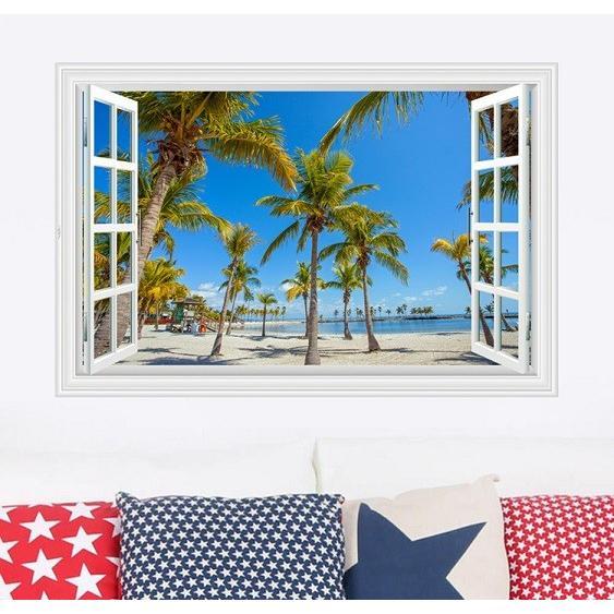 ウォールステッカー 窓 ヤシの木とビーチの風景 青空 壁シール 開放的 まるでリゾート地|41wallsticker|02