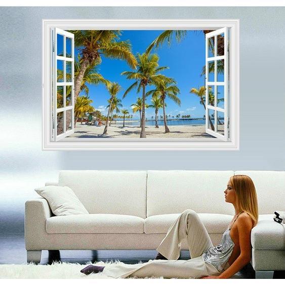 ウォールステッカー 窓 ヤシの木とビーチの風景 青空 壁シール 開放的 まるでリゾート地|41wallsticker|03