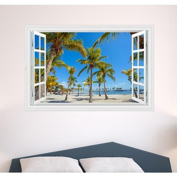 ウォールステッカー 窓 ヤシの木とビーチの風景 青空 壁シール 開放的 まるでリゾート地|41wallsticker|04