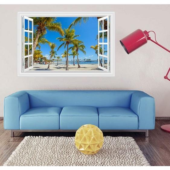 ウォールステッカー 窓 ヤシの木とビーチの風景 青空 壁シール 開放的 まるでリゾート地|41wallsticker|05