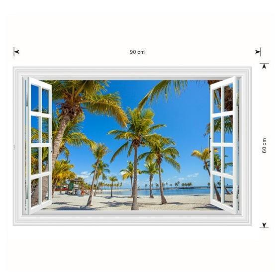ウォールステッカー 窓 ヤシの木とビーチの風景 青空 壁シール 開放的 まるでリゾート地|41wallsticker|06
