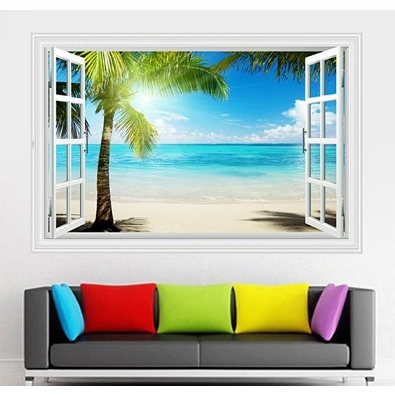 ウォールステッカー 窓 ヤシの木とビーチの風景 水平線 壁シール 南の島 真夏の眩い日差し|41wallsticker|02