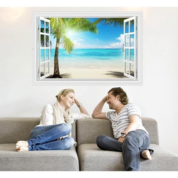 ウォールステッカー 窓 ヤシの木とビーチの風景 水平線 壁シール 南の島 真夏の眩い日差し|41wallsticker|03