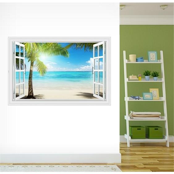ウォールステッカー 窓 ヤシの木とビーチの風景 水平線 壁シール 南の島 真夏の眩い日差し|41wallsticker|04