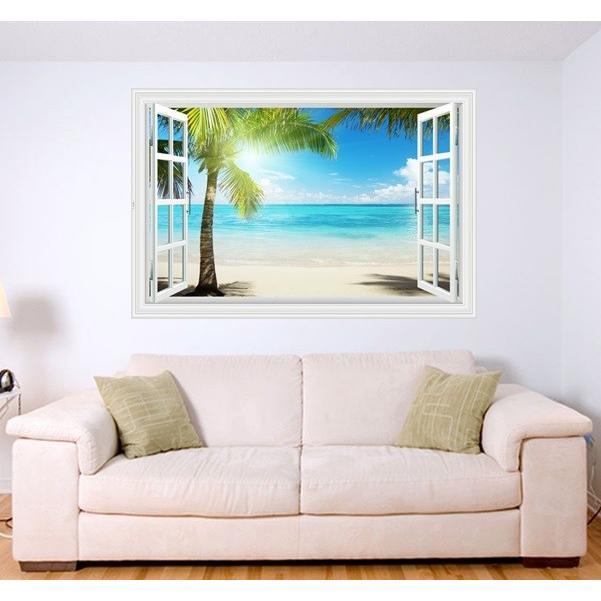 ウォールステッカー 窓 ヤシの木とビーチの風景 水平線 壁シール 南の島 真夏の眩い日差し|41wallsticker|05