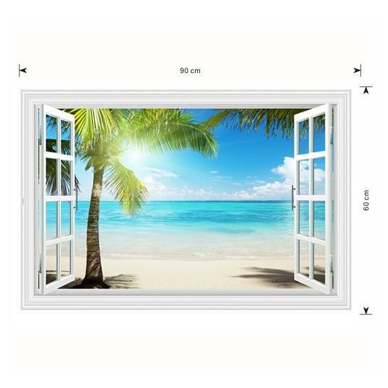 ウォールステッカー 窓 ヤシの木とビーチの風景 水平線 壁シール 南の島 真夏の眩い日差し|41wallsticker|06