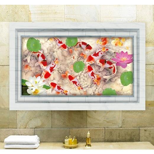 ウォールステッカー 池の錦鯉 蓮の花 3D壁シール 大理石 剥がせる 観賞魚 床にも 結婚式ギフト|41wallsticker