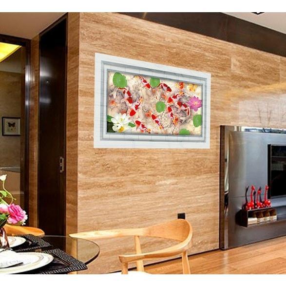 ウォールステッカー 池の錦鯉 蓮の花 3D壁シール 大理石 剥がせる 観賞魚 床にも 結婚式ギフト|41wallsticker|03