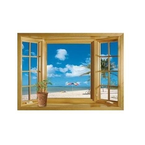 ウォールステッカー 窓 青空とビーチの風景 壁シール 海 常夏 開放感 白い雲 貼り直せる 浜辺|41wallsticker