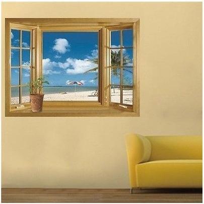 ウォールステッカー 窓 青空とビーチの風景 壁シール 海 常夏 開放感 白い雲 貼り直せる 浜辺|41wallsticker|02