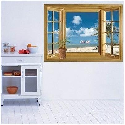 ウォールステッカー 窓 青空とビーチの風景 壁シール 海 常夏 開放感 白い雲 貼り直せる 浜辺|41wallsticker|03