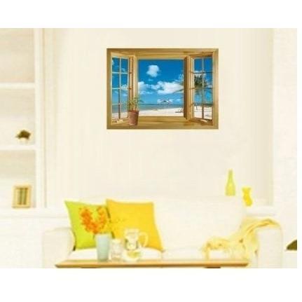 ウォールステッカー 窓 青空とビーチの風景 壁シール 海 常夏 開放感 白い雲 貼り直せる 浜辺|41wallsticker|04