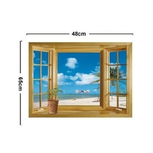 ウォールステッカー 窓 青空とビーチの風景 壁シール 海 常夏 開放感 白い雲 貼り直せる 浜辺|41wallsticker|05