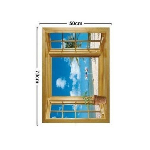 ウォールステッカー 窓 青空とビーチの風景 壁シール 海 常夏 開放感 白い雲 貼り直せる 浜辺|41wallsticker|06